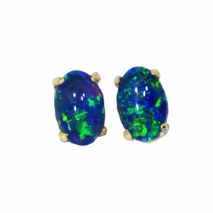 NATURES WONDER 18KT GOLD PLATED NATURAL AUSTRALIAN OPAL STUD EARRINGS