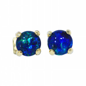 SKY GRASS FLASH 18KT GOLD PLATED NATURAL AUSTRALIAN OPAL STUD EARRINGS