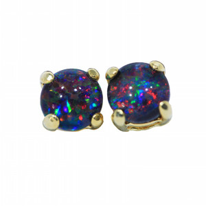 RAINBOW GALAXY 18KT GOLD PLATED NATURAL AUSTRALIAN OPAL STUD EARRINGS