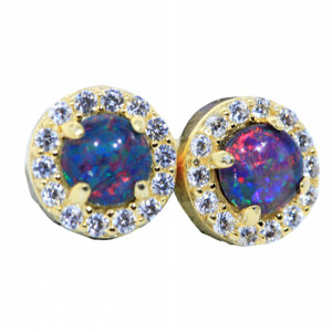 BRITE FIRE 18KT GOLD PLATED NATURAL AUSTRALIAN OPAL STUD EARRINGS