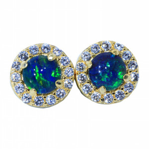 BRIGHT BLUE 18KT GOLD PLATED NATURAL AUSTRALIAN OPAL STUD EARRINGS