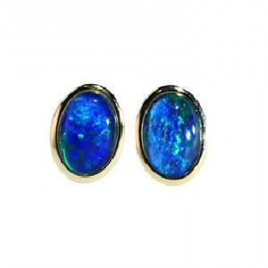 OASIS 18kt GOLD PLATED NATURAL AUSTRALIAN OPAL EARRINGS