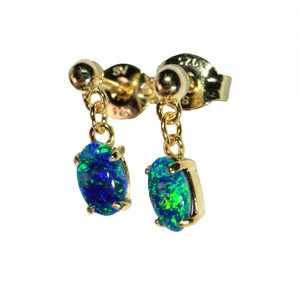 BLUE DROP 18kt GOLD PLATED  NATURAL LIGHTNING RIDGE AUSTRALIAN OPAL EARRINGS