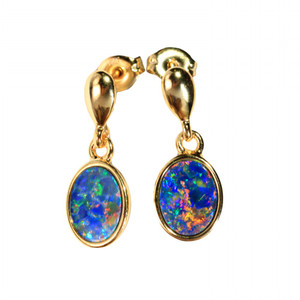 QUANTIC MIRROR 18kt GOLD PLATED NATURAL AUSTRALIAN OPAL EARRINGS