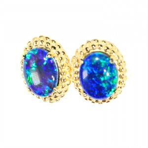 SCABIOSA 18kt GOLD PLATED NATURAL LIGHTNING RIDGE AUSTRALIAN OPAL EARRINGS