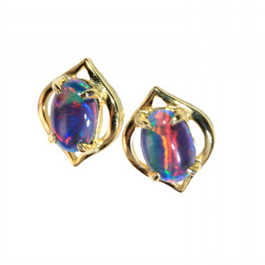 HUMMINGBIRD 18kt GOLD PLATED NATURAL LIGHTNING RIDGE AUSTRALIAN OPAL EARRINGS
