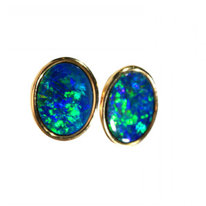 FLUORESCENT SEAWEED 18kt GOLD PLATED NATURAL LIGHTNING RIDGE AUSTRALIAN OPAL EARRINGS