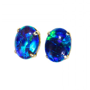 BLUE LAKE 18kt GOLD PLATED NATURAL LIGHTNING RIDGE AUSTRALIAN OPAL EARRINGS