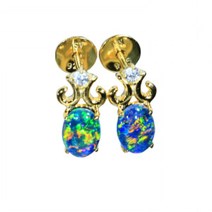 OCTOPUS GARDEN 18kt GOLD PLATED NATURAL LIGHTNING RIDGE AUSTRALIAN OPAL EARRINGS