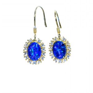 BLUE SUN 18kt GOLD PLATED NATURAL LIGHTNING RIDGE AUSTRALIAN OPAL EARRINGS