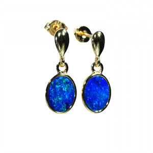 BLUE OVAL 18kt GOLD PLATED NATURAL LIGHTNING RIDGE AUSTRALIAN OPAL EARRINGS