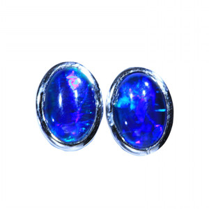 BLUE SERENITY STERLING SILVER NATURAL LIGHTNING RIDGE AUSTRALIAN OPAL EARRINGS