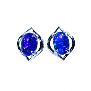 AZUL STERLING SILVER NATURAL NATURAL LIGHTNING RIDGE AUSTRALIAN OPAL EARRINGS