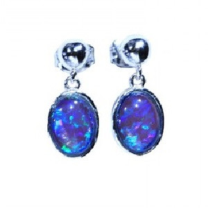MERMAID BRILLIANCE STERLING SILVER NATURAL LIGHTNING RIDGE AUSTRALIAN OPAL EARRINGS