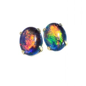 PARROT 18kt GOLD PLATED NATURAL LIGHTNING RIDGE AUSTRALIAN OPAL EARRINGS
