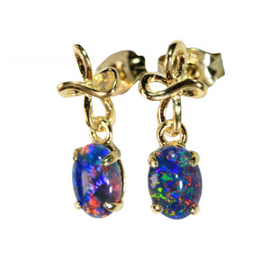 ECLAT 18kt GOLD PLATED  NATURAL LIGHTNING RIDGE AUSTRALIAN OPAL EARRINGS
