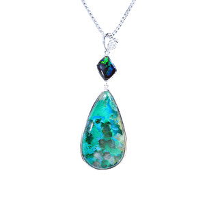 NORTHERN FOREST STERLING SILVER NATURAL AUSTRALIAN OPAL AND CONELLA STONE NECKLACE