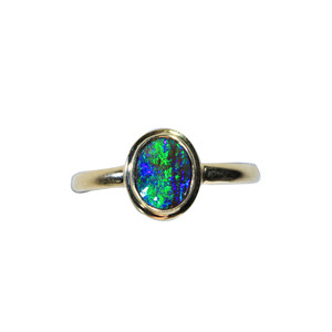 GREEN RIVER 18kt GOLD PLATED NATURAL AUSTRALIAN SOLID OPAL RING