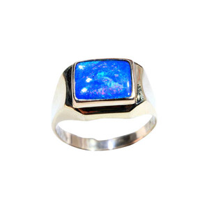 AQUA 9kt GOLD NATURAL AUSTRALIAN OPAL MENS RING