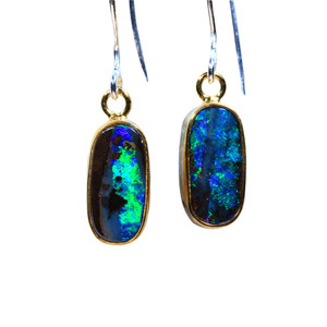 FOREST DELIGHT STERLING SILVER & 18KT GOLD PLATED NATURAL AUSTRALIAN OPAL EARRINGS