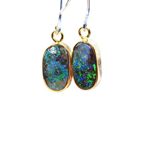 GREEN COSMO STERLING SILVER & 18KT GOLD PLATED NATURAL AUSTRALIAN OPAL EARRINGS