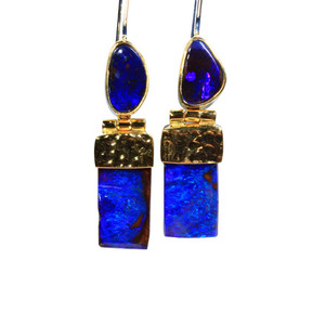 BLUE DESTING STERLING SILVER & 18KT GOLD PLATED NATURAL AUSTRALIAN OPAL EARRINGS