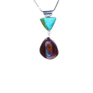 HIDDEN BOULDER & CORELLA STONE STERLING SILVER NATURAL AUSTRALIAN OPAL NECKLACE
