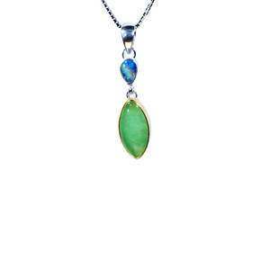 MIRACLE BOULDER & CHRYSOPHRASE STERLING SILVER & 18KT GOLD PLATED NATURAL AUSTRALIAN OPAL NECKLACE