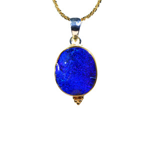 ROYAL BLUE DELIGHT STERLING SILVER & 18KT GOLD PLATED NATURAL AUSTRALIAN OPAL NECKLACE