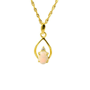 CONFIDENT LOVE 9KT GOLD SOLID AUSTRALIAN WHITE OPAL NECKLACE