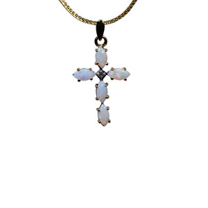 THE CROSS OF LOVE 9KT GOLD SOLID AUSTRALIAN WHITE OPAL NECKLACE