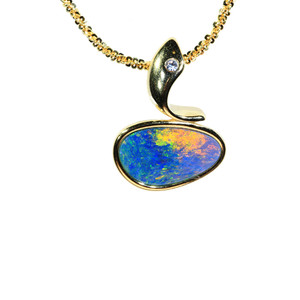 SHINE BRIGHT 18KT GOLD PLATED NATURAL AUSTRALIAN OPAL NECKLACE