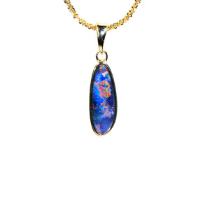 BOUTIQUE CONFETTI 18KT GOLD PLATED NATURAL AUSTRALIAN OPAL NECKLACE