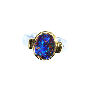 BLUE MIRROR 18KT GOLD PLATED & STERLING SILVER AUSTRALIAN NATURAL BOULDER OPAL RING