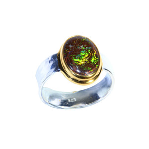 CIRCLE OF LIFE 18KT GOLD PLATED & STERLING SILVER SOLID AUSTRALIAN BOULDER OPAL RING