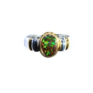 GREEN SPARKLED BROWN BOULDER OPAL 18KT GOLD & STERLING SILVER AUSTRALIAN NATURAL OPAL RING