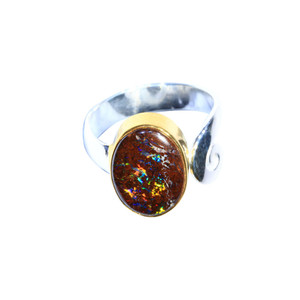 BOULDER SPARKLE 18KT GOLD PLATED & STERLING SILVER AUSTRALIA NATURAL OPAL RING