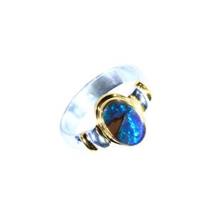 GREEN & BLUE SPARKLE 18KT GOLD PLATED & STERLING SILVER AUSTRALIAN BOULDER OPAL RING