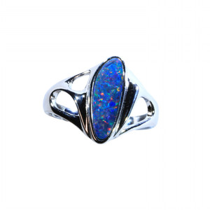 MAGICAL CONFETTI DELIGHT STERLING SILVER NATURAL AUSTRALIAN OPAL RING
