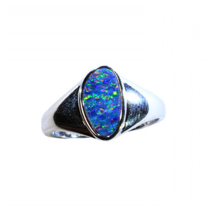 SUPRISED RAINBOW FLEC STERLING SILVER NATURAL AUSTRALIAN OPAL RING