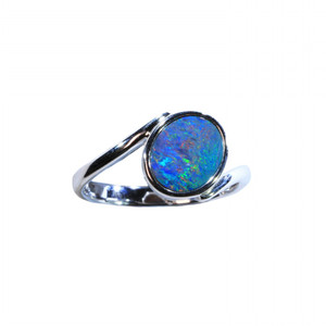 CIRCLE OF SPIRITED OPAL STERLING SILVER NATURAL AUSTRALIAN OPAL RING