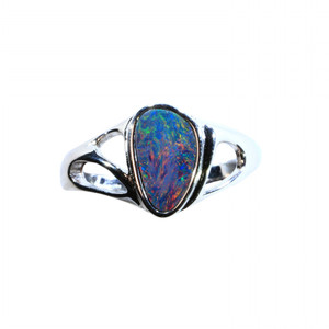 DARK ENVIE STERLING SILVER NATURAL AUSTRALIAN OPAL RING