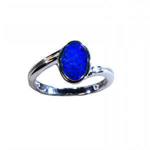 DARK BLUE SEA SUPRISE STERLING SILVER NATURAL AUSTRALIAN OPAL RING