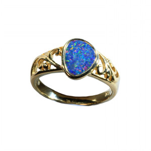 BRIGHT FILIGREE 18KT GOLD PLATED NATURAL AUSTRALIAN OPAL RING