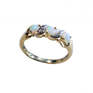 THREE OF A KIND 9KT GOLD NATURAL AUSTRALIAN WHITE OPAL RING