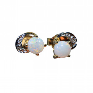 DESTINED DESIRE 9KT GOLD AUSTRALIAN NATURAL SOLID WHITE OPAL STUD EARRINGS