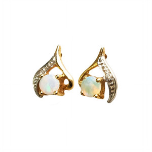 GLORIOUS HARMONY 9KT GOLD & DIAMOND AUSTRALIAN NATURAL SOLID WHITE OPAL STUD EARRINGS