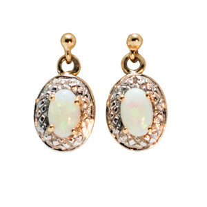 DESIRED LOVE 9KT GOLD AUSTRALIAN NATURAL SOLID WHITE OPAL EARRINGS