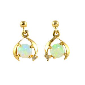 PETITE RAINBOW 9KT GOLD AUSTRALIAN NATURAL SOLID WHITE OPAL EARRINGS
