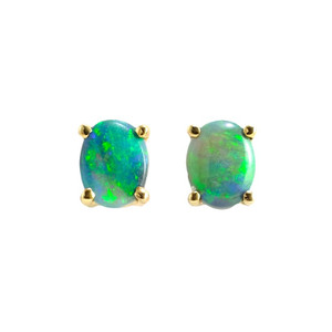 RAINBOW LOVE 9KT GOLD AUSTRALIAN NATURAL SOLID BLACK OPAL STUD EARRINGS